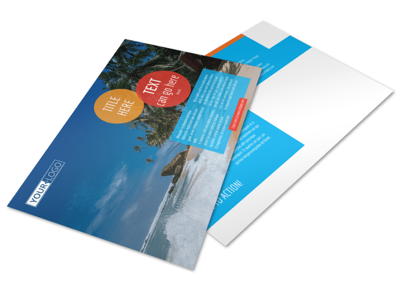 Ocean Beach Resort Postcard Template Preview 1