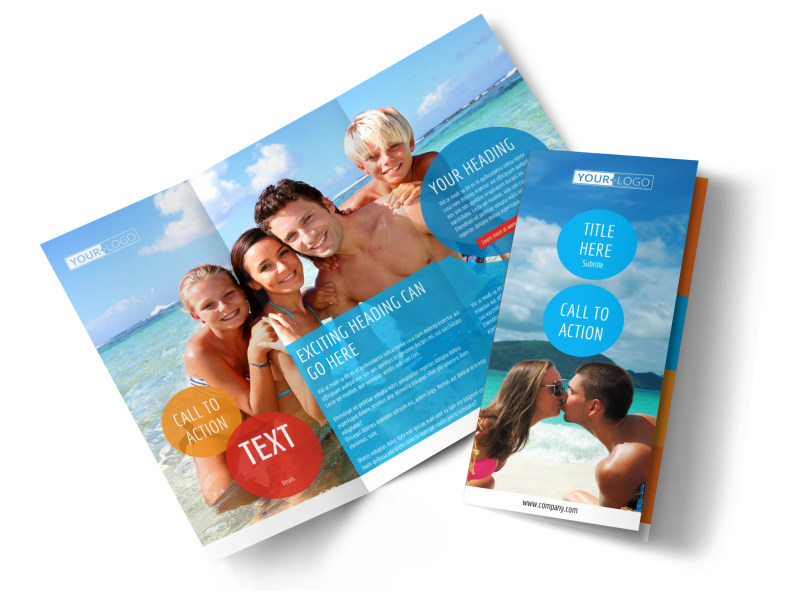 Ocean Beach Resort Brochure Template MyCreativeShop - Tri fold brochures templates