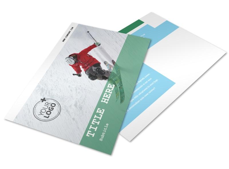 Fresh Powder Ski Resort Postcard Template