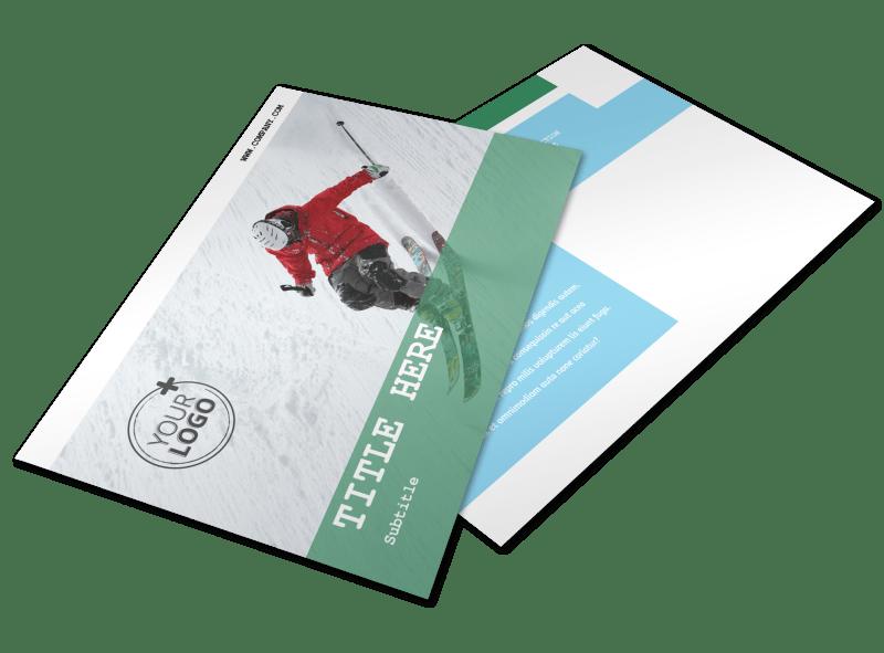 Fresh Powder Ski Resort Postcard Template Preview 1
