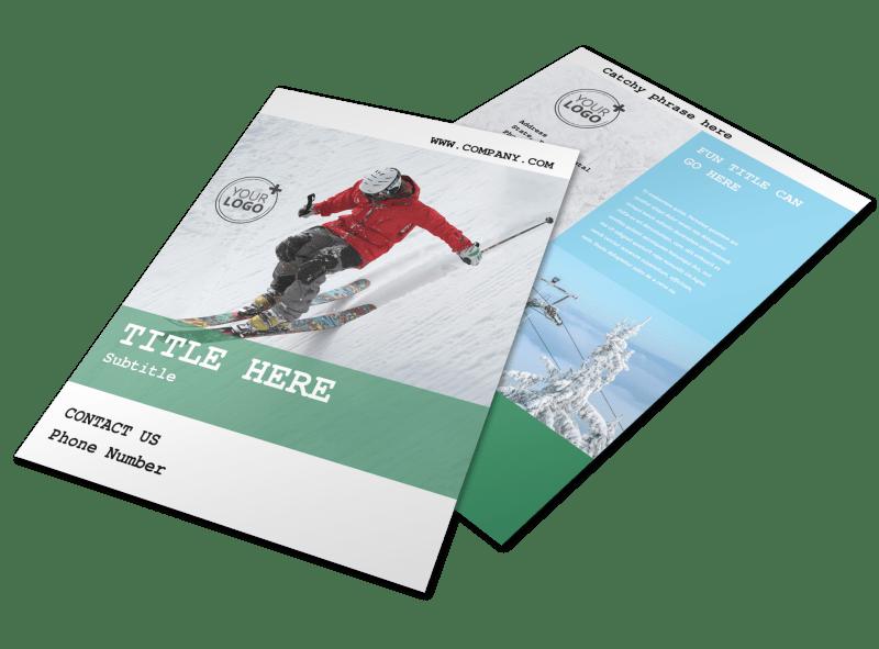 Fresh Powder Ski Resort Flyer Template Preview 1