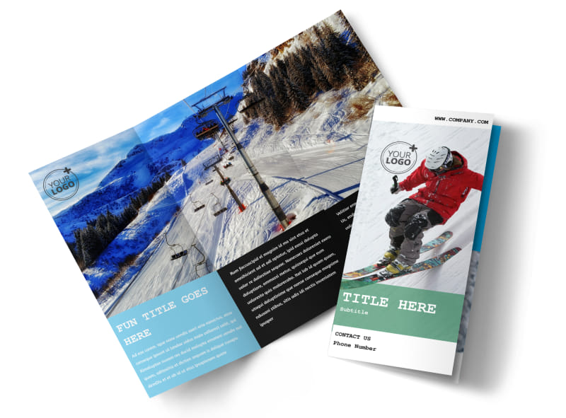 Fresh Powder Ski Resort Tri-Fold Brochure Template