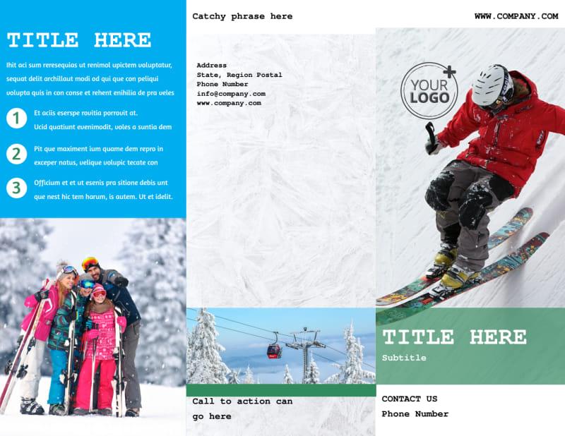 Fresh Powder Ski Resort Brochure Template Preview 2