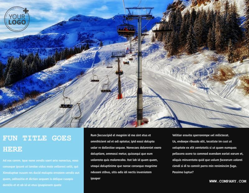 Fresh Powder Ski Resort Brochure Template Preview 3