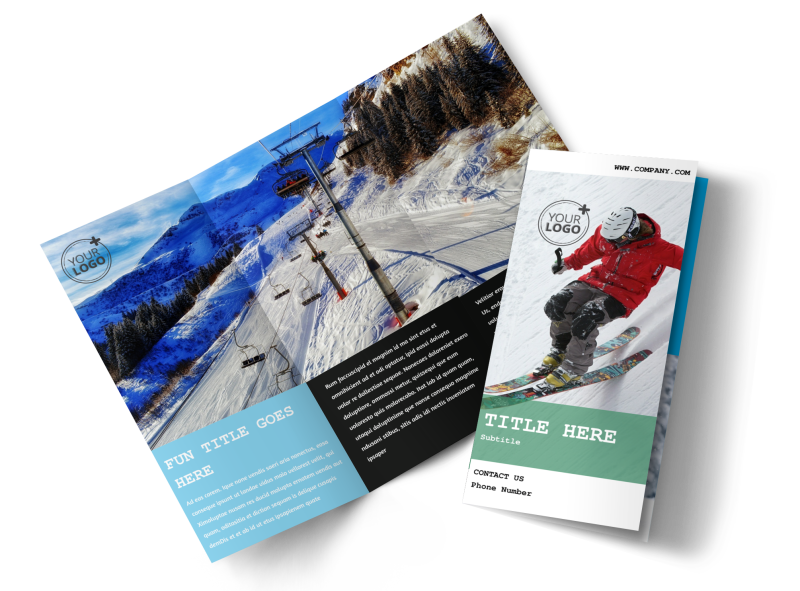 Fresh Powder Ski Resort Brochure Template Preview 1