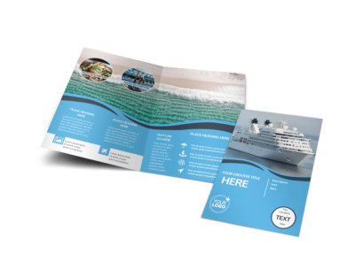 Cruise Ship Travel Bi-Fold Brochure Template preview