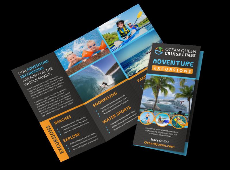 Cruise Ship Travel Tri Fold Brochure Template