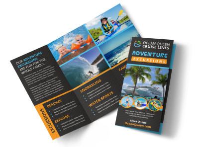 Cruise Ship Travel Tri-Fold Brochure Template preview