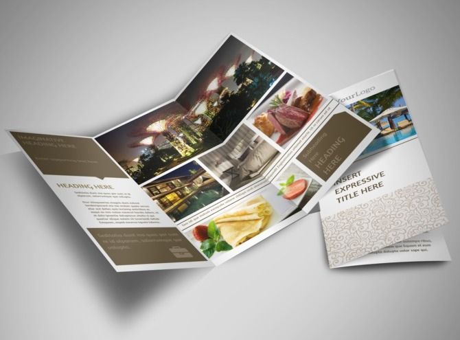 Luxury hotels tri fold brochure template for Hotel brochure design templates