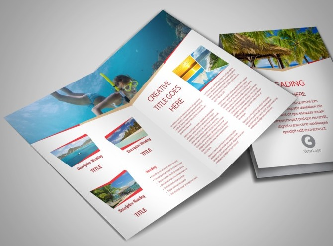 travel brochure template 3 fold - travel agency bi fold brochure template