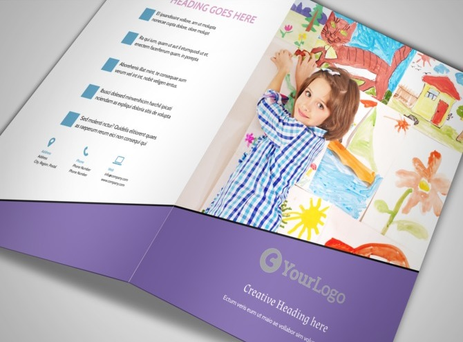 Fun school party bi fold brochure template for Fun brochure templates