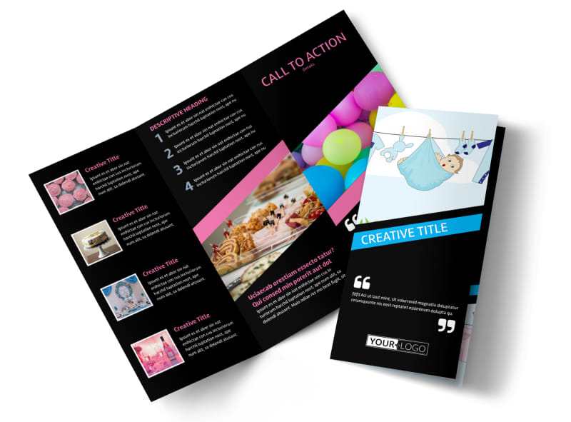 Baby Shower Service Tri-Fold Brochure Template