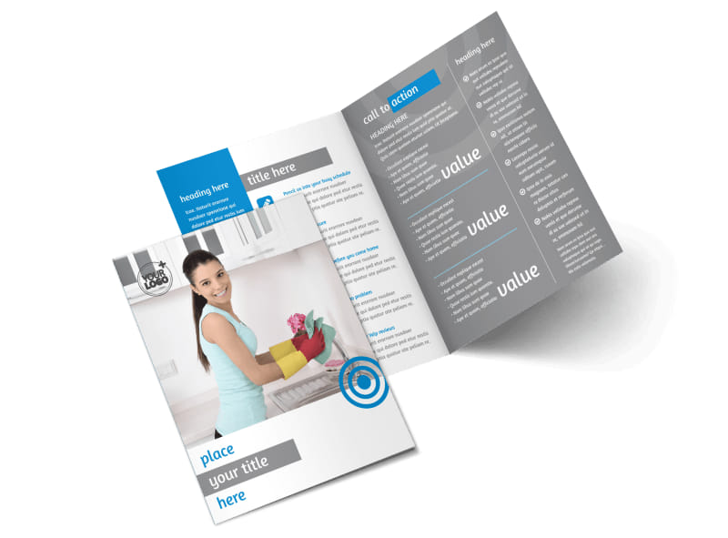 House cleaning housekeeping services bi fold brochure for Cleaning service brochure templates
