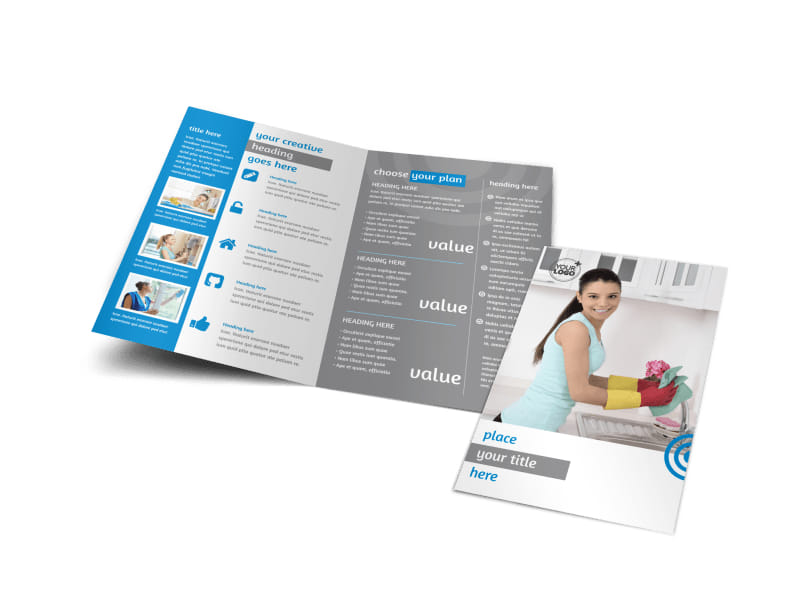 House Cleaning & Housekeeping Services Bi-Fold Brochure Template
