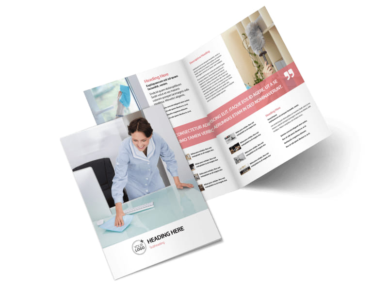 Office Cleaning Bi-Fold Brochure Template 2