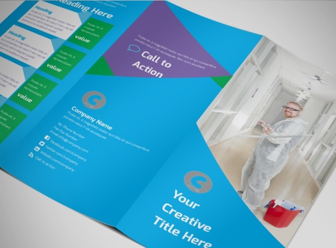 Commercial cleaning tri fold brochure template for Commercial cleaning brochure templates