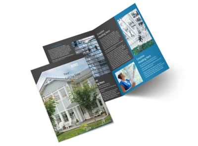 Window Cleaning & Prerssure Washing Bi-Fold Brochure Template