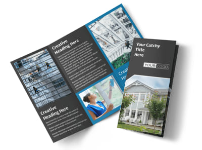 Window Cleaning & Pressure Washing Tri-Fold Brochure Template preview