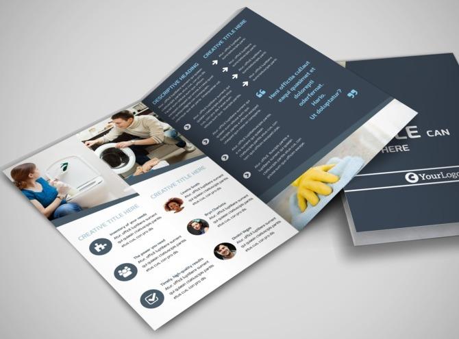 apartment brochure templates - apartment cleaning bi fold brochure template
