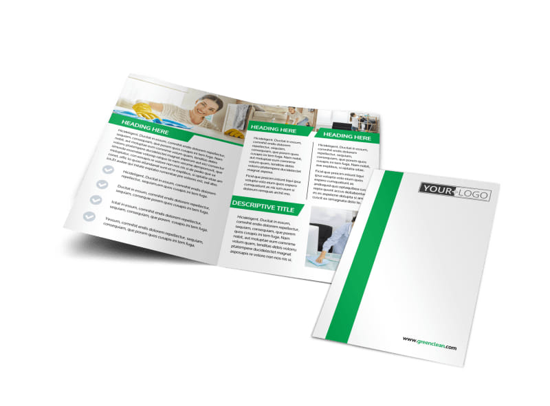 Green Cleaning Bi-Fold Brochure Template