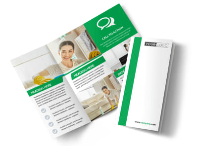 Green Cleaning Tri-Fold Brochure Template