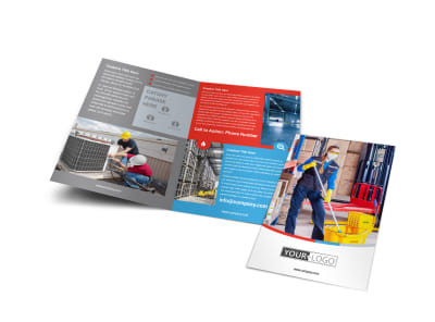Industrial Cleaning Bi-Fold Brochure Template