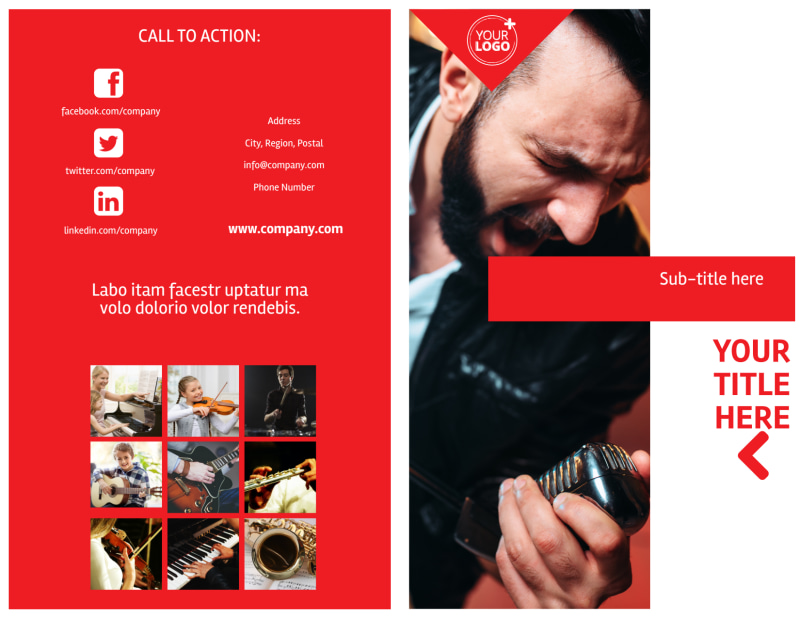 Music Lessons Brochure Template Preview 2