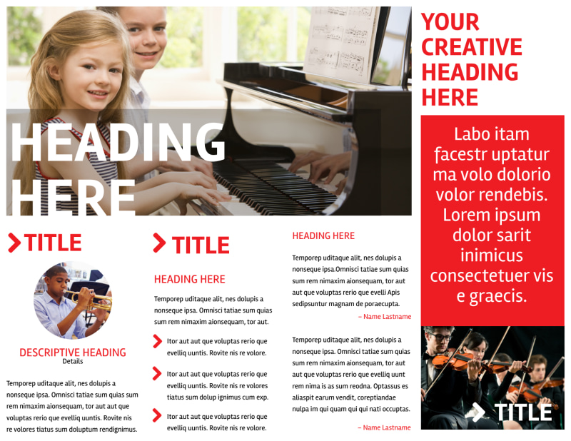 Music Lessons Brochure Template Preview 3