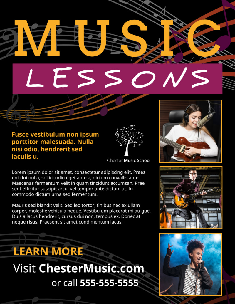 Music Lessons Flyer Template Preview 2