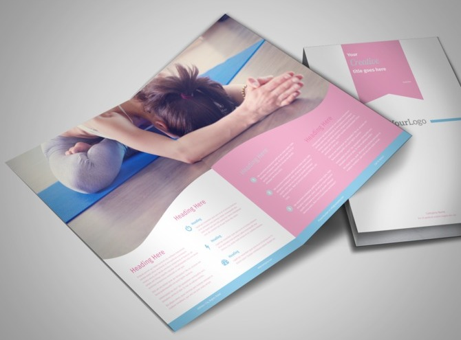 Core yoga bi fold brochure template for Yoga brochure templates