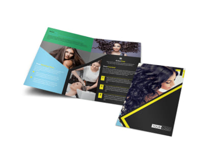 Hair Salon Studio Bi-Fold Brochure Template preview