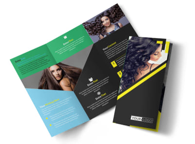 Hair Salon Studio Tri-Fold Brochure Template preview