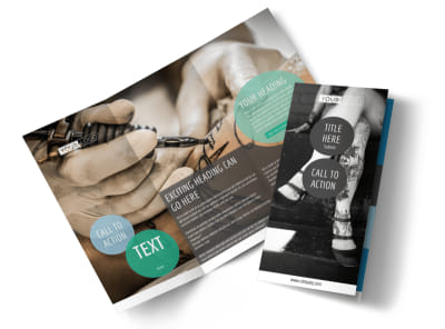 Tattoo & Body Piercing Tri-Fold Brochure Template preview