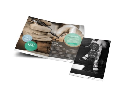 Tattoo & Body Piercing Bi-Fold Brochure Template preview