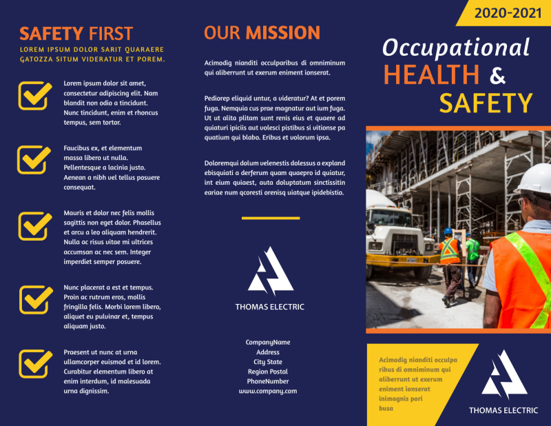 Occupational Health & Safety Brochure Template Preview 2