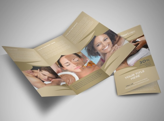 Day spa resort tri fold brochure template for 3 day spa retreat