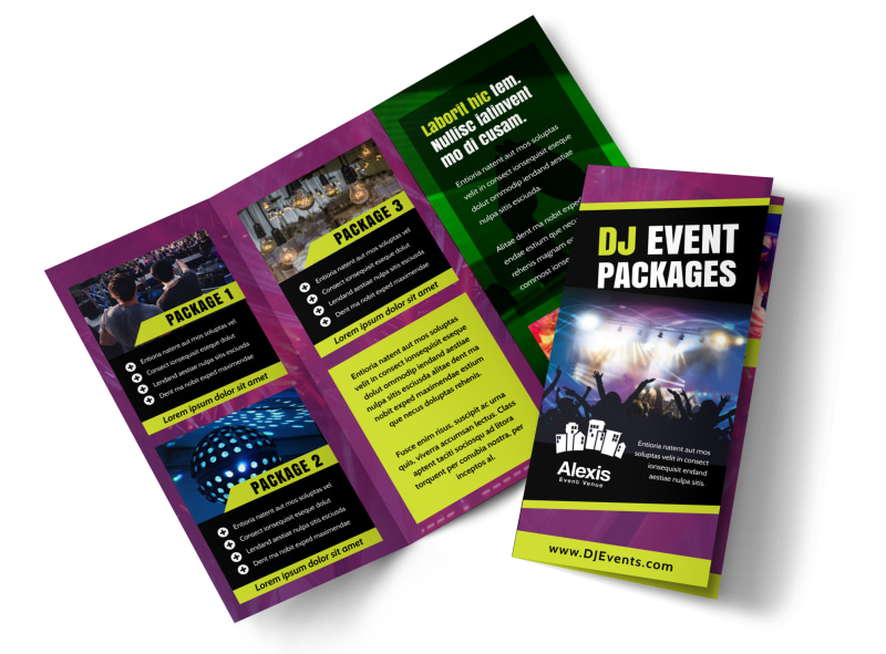 DJ Event Package Tri-Fold Brochure Template