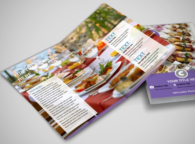 catering brochure templates - catering package bi fold brochure template