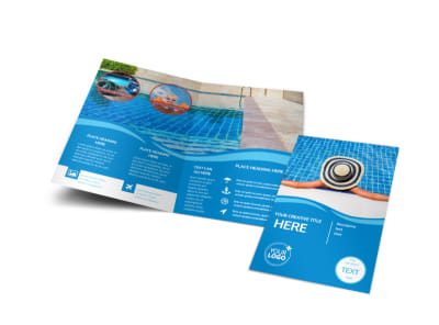 Swimming Pool Cleaning Service Bi-Fold Brochure Template