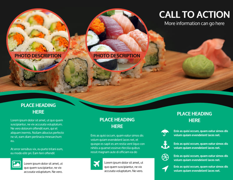 Fresh Sushi Brochure Template Preview 3