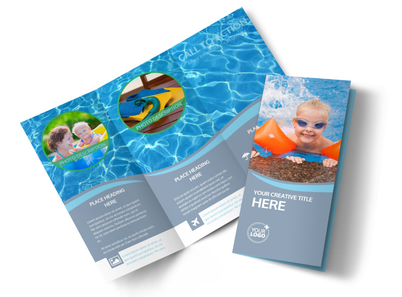 Kids Pool Party Tri-Fold Brochure Template