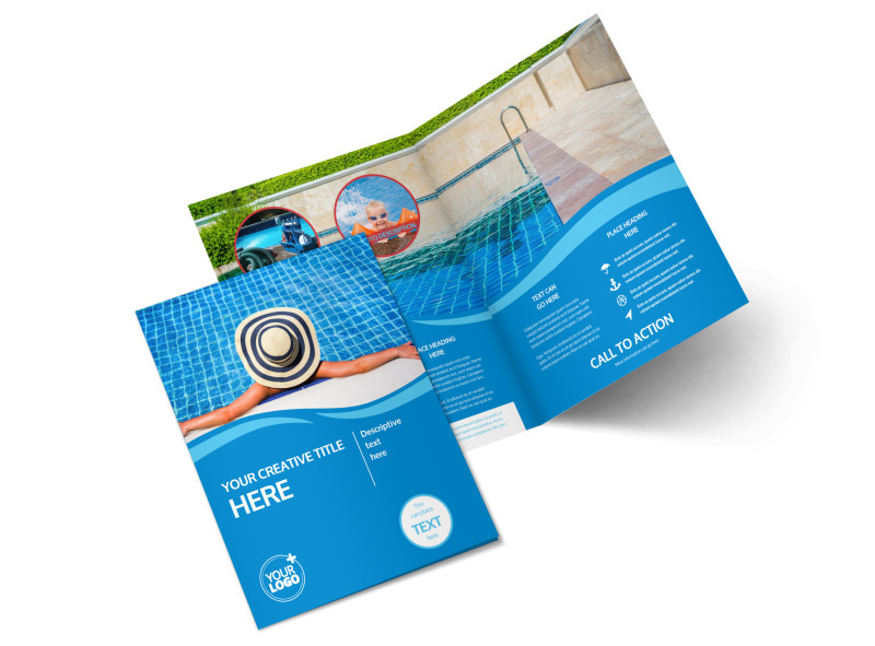 Swimming Pool Service Brochure Design : Swimming pool cleaning service bi fold brochure template