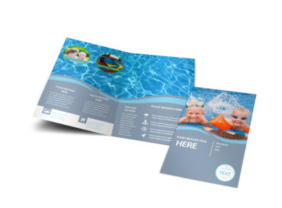 Kids Pool Party Bi-Fold Brochure Template