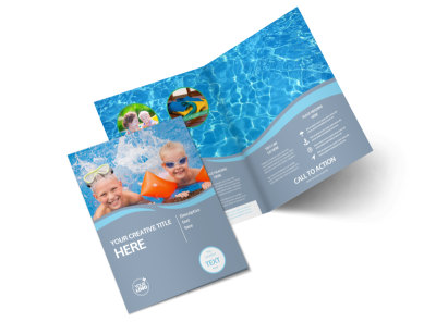 Kids Pool Party Bi-Fold Brochure Template 2