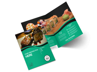 Fresh Sushi Bi-Fold Brochure Template 2