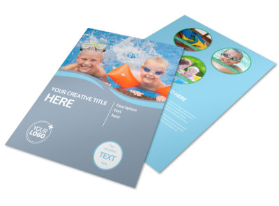 Kids Pool Party Flyer Template preview