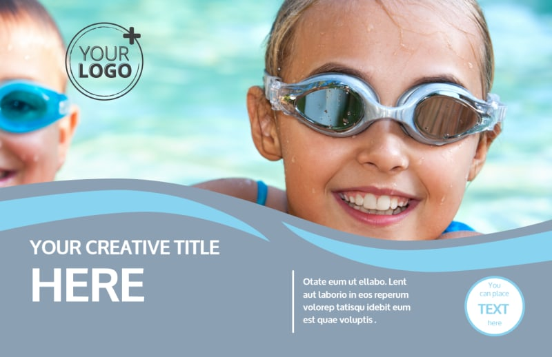 Kids Pool Party Postcard Template Preview 2