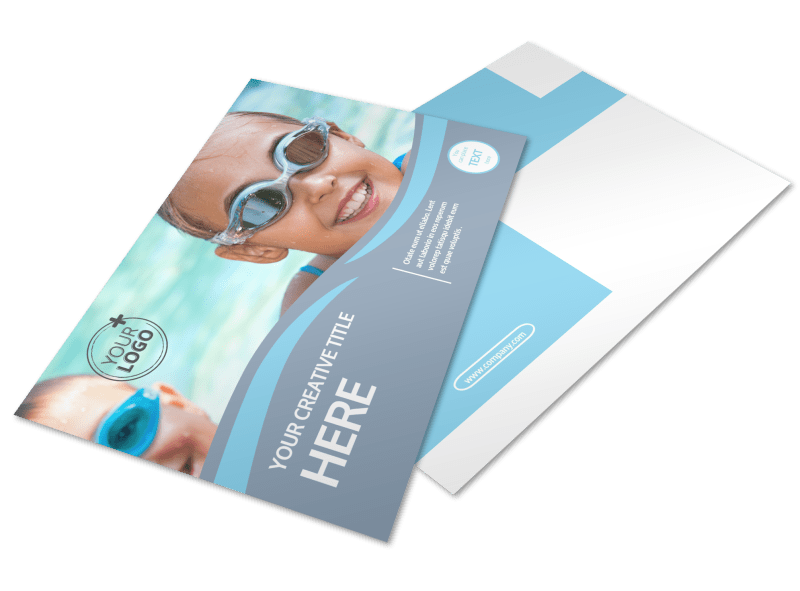Kids Pool Party Postcard Template Preview 1
