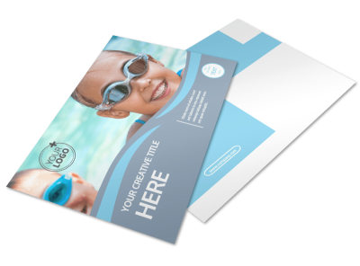 Kids Pool Party Postcard Template