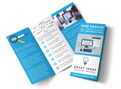 Web Design & SEO Tri-Fold Brochure Template preview